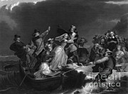 Colonial Man Prints - Landing Of The Pilgrims On Plymouth Print by Photo Researchers