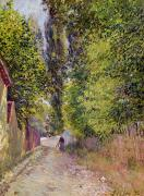 Village Paintings - Landscape near Louveciennes by Alfred Sisley