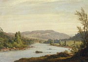 Mountain Valley Paintings - Landscape with River by Sanford Robinson Gifford