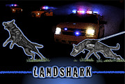Law Enforcement Mixed Media Metal Prints - Landshark Metal Print by Rose Borisow