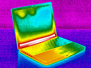 Laptop Posters - Laptop Computer, Thermogram Poster by Tony Mcconnell