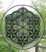 Sacred Glass Art - Large Flower of Life by Loran Elizabeth Conley