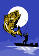 Outdoor Digital Art Posters - Largemouth Bass Fish and Fly Fisherman Poster by Aloysius Patrimonio