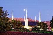 Temples Photos - Las Vegas Temple Moon by La Rae  Roberts