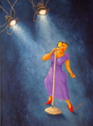 On Stage Paintings - Latina Jazz Diva by Pamela Allegretto