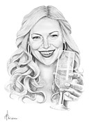 Famous People Drawings - Laura Prepon by Murphy Elliott