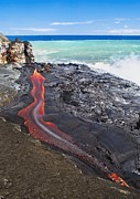 Hawai Prints - Lava Flowing Into Ocean, Hawaii Print by David Nunuk