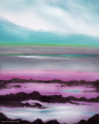 Purple Art Gallery - Lava Rock Sunset in Blue and Purple by Gina De Gorna