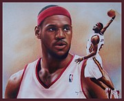 Miami Heat Drawings Prints - LeBron James Print by Cory McKee