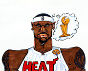 Miami Heat Drawings Prints - Lebron James Print by Dave Olsen