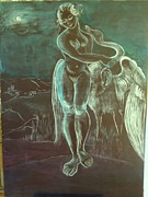 Mythology Sculpture Prints - Leda and The Swan Print by Michele D B