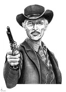 Pencil Portrait Prints - Lee Van Cleef Print by Murphy Elliott