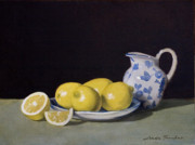 Lemons Paintings - Lemon Cream by Linda Tenukas