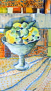 Food And Beverage Mixed Media Originals - Lemon Lime Abstract by Mindy Newman