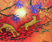Oriental Style Paintings - Leopards in the Sun by Rick Carbonell