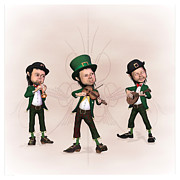 Leprechaun Digital Art - Leprechaun  Musicians by John Junek