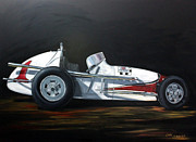 Indy Car Painting Framed Prints - Lets Race Framed Print by Cindy Cradler