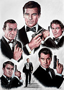 Movie Star Drawings Metal Prints - Licence to kill Metal Print by Andrew Read