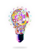Background Digital Art Posters - Light Bulb Design By Cogs And Gears  Poster by Setsiri Silapasuwanchai