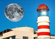 Brown Toned Art Digital Art Posters - Lighthouse and Moon Poster by Odon Czintos