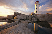 Scenic Views Prints - Lighthouse At Sunset Print by Richard Nowitz