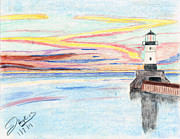 Lighthouse Drawings - Lighthouse by John Hoppy Hopkins