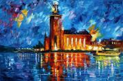 Canal Painting Originals - Lighthouse by Leonid Afremov