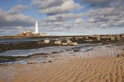 Sandy Beaches Prints - Lighthouse, Northumberland, England Print by John Short