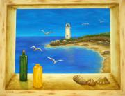 Beach Window Painting Framed Prints - Lighthouse View Framed Print by Pamela Allegretto