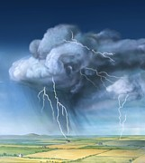 Cloud To Cloud Framed Prints - Lightning, Artwork Framed Print by Gary Hincks