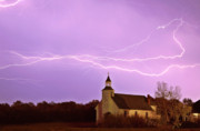 Faiths Art - Lightning bolts over Spring Valley country church by Mark Duffy