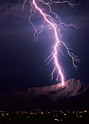 Bolt-action Prints - Lightning Over Tucson Print by Keith Kent