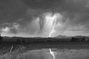 Storms Photos - Lightning Striking Longs Peak Foothills 3 by James Bo Insogna