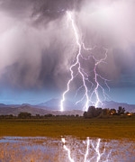 Storm Prints Photo Framed Prints - Lightning Striking Longs Peak Foothills 6 Framed Print by James Bo Insogna