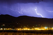 Monsoon Posters - Lightning Striking Over IBM Boulder CO 2 Poster by James Bo Insogna