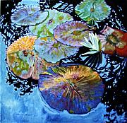 Water Lilies Paintings - Lily Pad Palettes by John Lautermilch