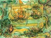 Bronze Prints Prints - Lily Pond  Print by Ione Citrin