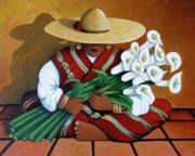 Contemporary Native Art Paintings - Lily Women by Lance Headlee