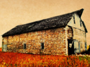 Homestead Prints - Lime Stone Barn Print by Julie Hamilton
