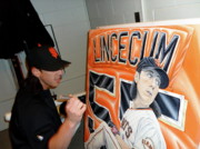 Www.sportsartworldwide.com  Paintings - LINCECUM ORIGINAL PAINTING SOLD and LIMITED EDTION PRINTS SOLD OUT by Sports Art World Wide John Prince