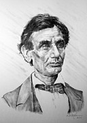 Presidential Drawings Posters - Lincoln Poster by Roy Kaelin