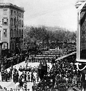 Slavery Photo Framed Prints - Lincolns Funeral Procession, 1865 Framed Print by Photo Researchers