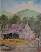 Old Barn Paintings - Lindas Barn by Vickie Shelton