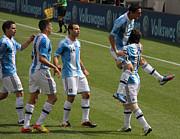 Lionel Messi The Hug Print by Lee Dos Santos