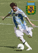 Fifa Prints - Lionel Messi The Kick Art Deco Print by Lee Dos Santos