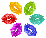 Lips Posters - Lipstick kisses in color Poster by Blink Images