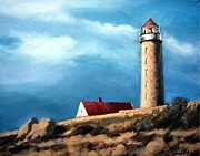 Red-roofed Buildings Posters - Lista Fyr Lighthouse Poster by Janet King