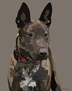 Brindle Digital Art Prints - Listening Print by Kris Hackleman