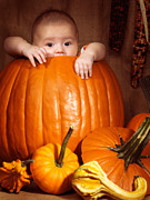 Boo Prints - Little Baby Boy Sitting Inside a Large Pumpkin Print by Oleksiy Maksymenko