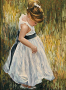 White Dress Painting Originals - Little Belle by Katherine Tucker